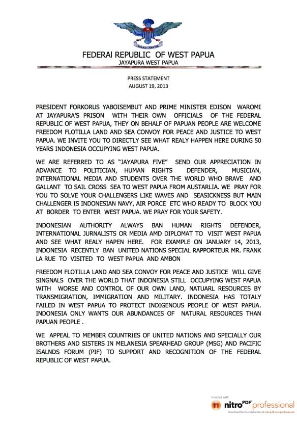 PRESS STATEMENT ON FREEDOM FLOTILLA