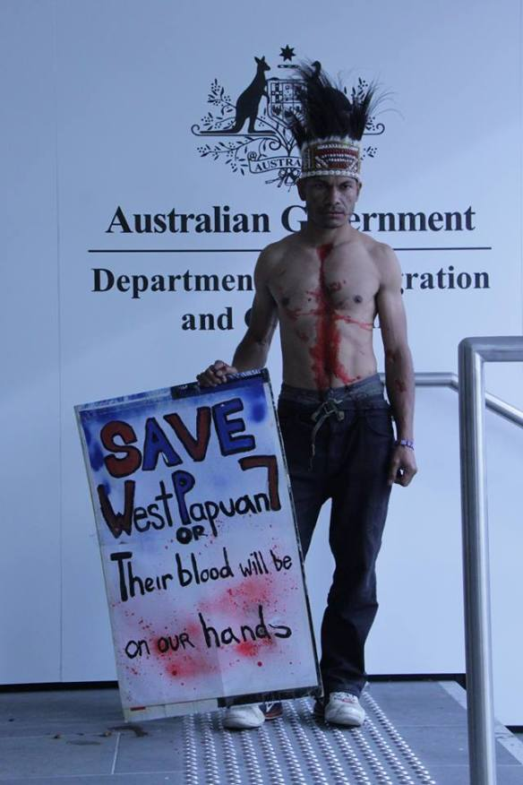 West Papuan protester at DIAC in Melbourne on 1st of October