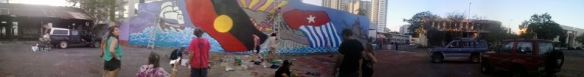 Amazing mural going up at this moment on the corner of Bennett Street and Cavanagh Street. In support of Australians for a Free West Papua.